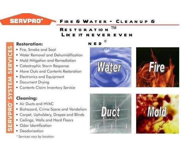 SERVPRO advertisement of various services