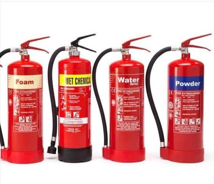 4 Different Classes of fire extinguisher.